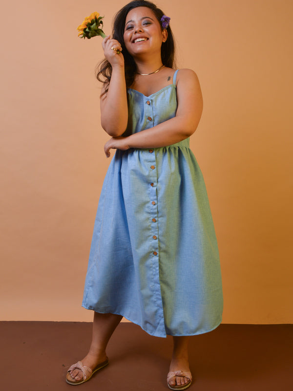 Button Down Linen Dress in Blue