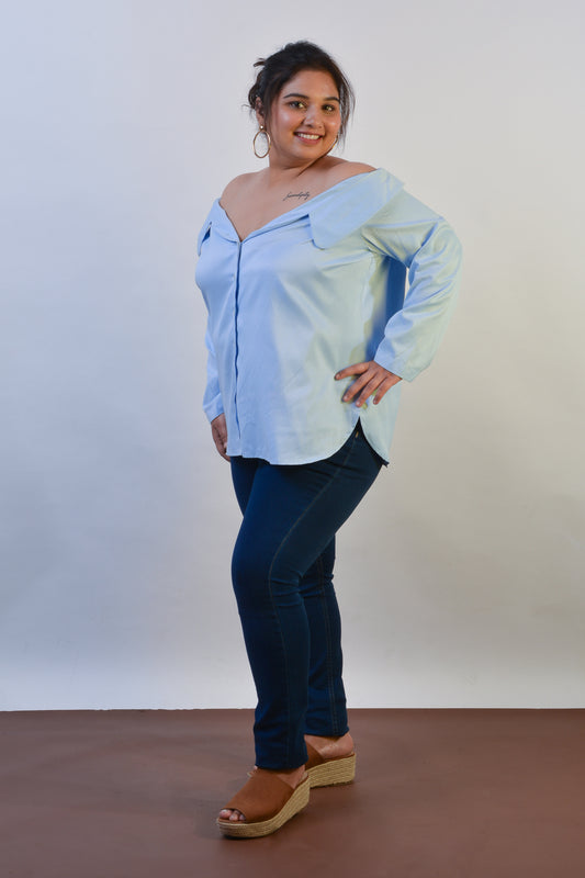 Off Shoulder Shirt w/ Ruched Sleeves