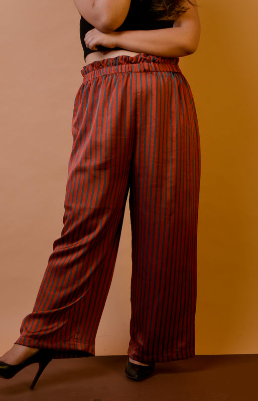 Paperbag Waist Pants in Stripes