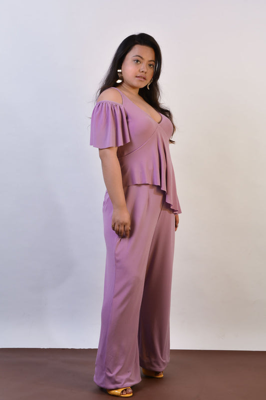 Hi-Low Peplum Jumpsuit in Purple