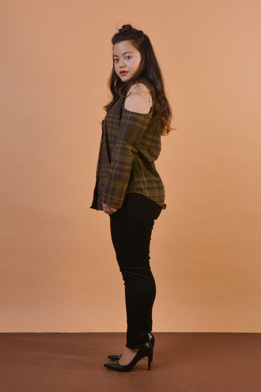 Cold Shoulder Shirt in Military Checks