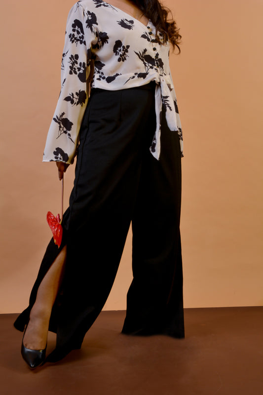 Flared Trousers w/ High Slit in Black