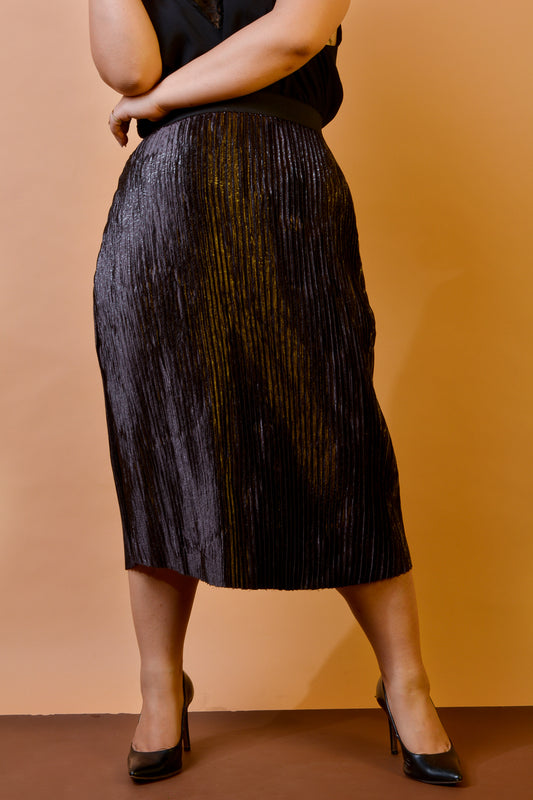 Pleated Skirt in Metallic