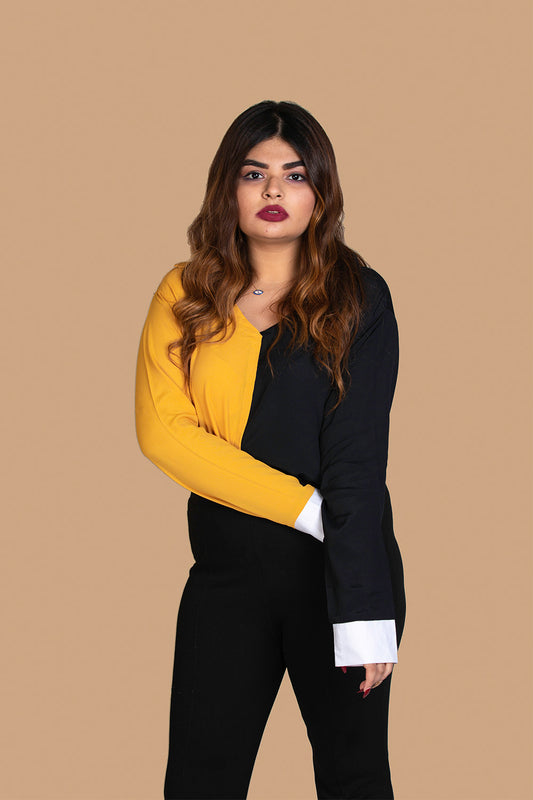 Colour Blocked Shirt in Mustard & Black