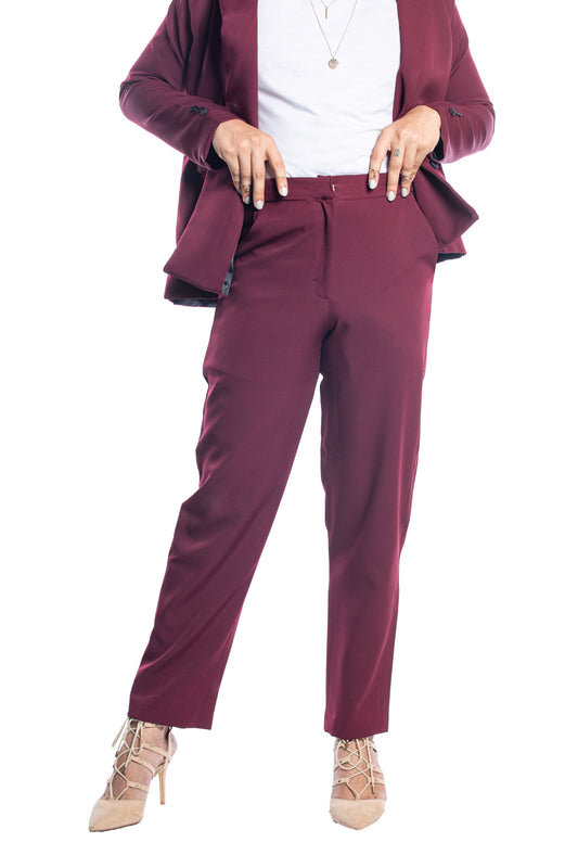 Tapered Trouser In Burgundy
