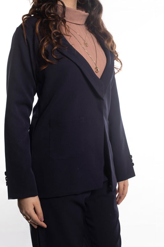 Shawl Lapel Blazer In Navy Blue