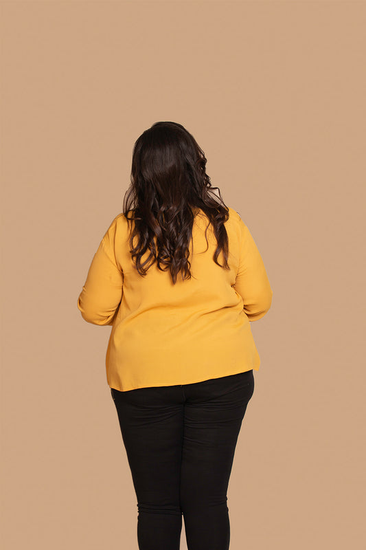 Button Detail Top in Mustard