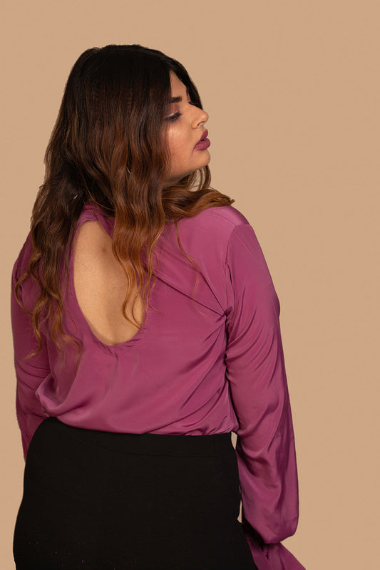 Keyhole Top with Paperbag Sleeves in Purple