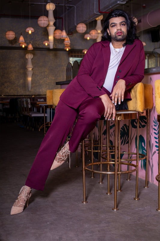 Asymmetrical Notch Lapel Blazer In Burgundy