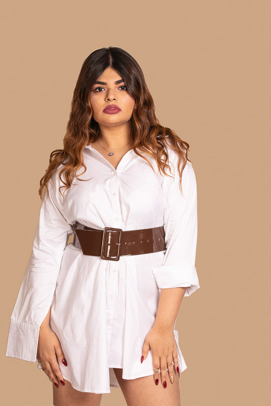 Basic Boyfriend Shirt Dress in White