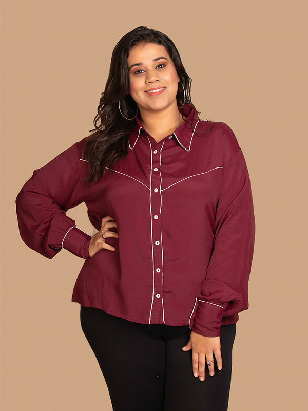 Button Down Shirt with Contrast Detailing in Burgundy