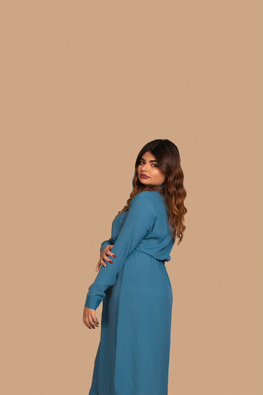 Midi Shirt Dress w/ Drawstrings in Blue
