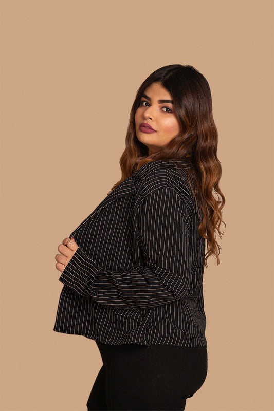Crop Blazer in Black Stripes