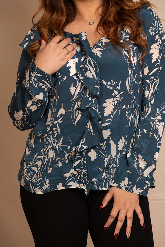 Ruffle Neck Top in Teal Floral