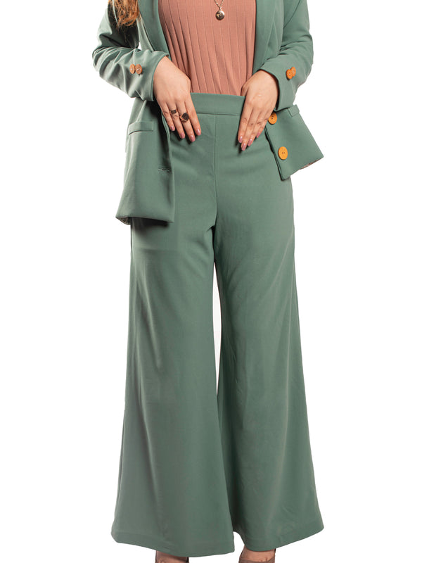 Flared Trousers In Sage Green