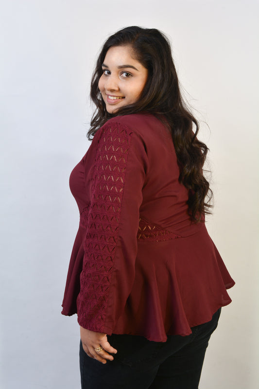 Lace Panelled Peplum Top in Burgundy