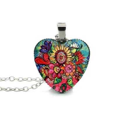 Bohemian Necklace - Heart Sunflower Beautiful Silver Pendants