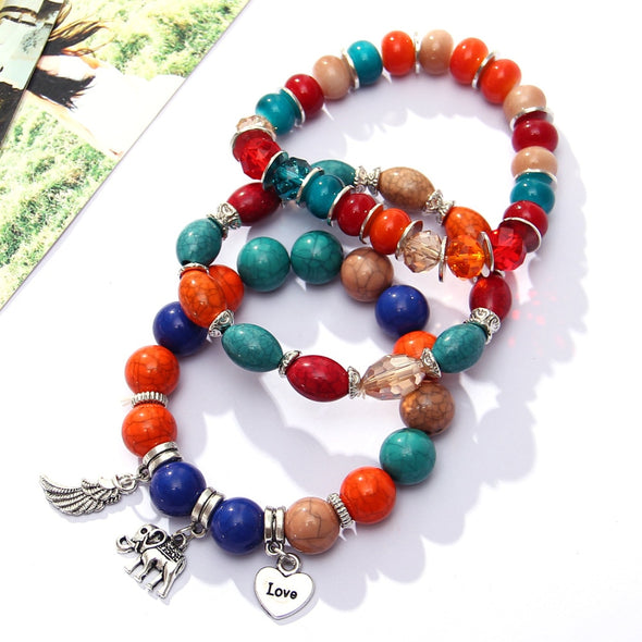 Bohemian Jewelry - Boho Beaded Ladies Silver Charm Bracelets