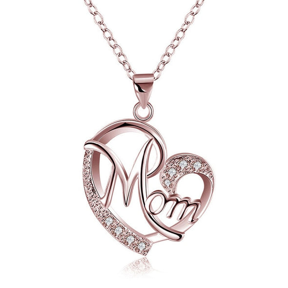 Bohemian Necklace - Love Mom Heart Shaped Pendant Silver Necklace
