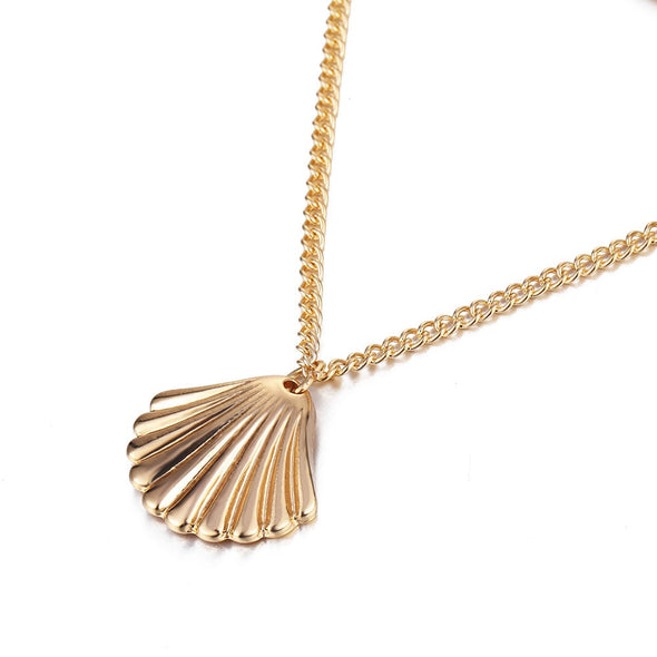 Bohemian Necklace - Seashell Long Length Silver Necklace & Pendant