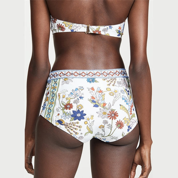Bohemian Swimsuit - Retro Floral Ruffle High Waist Push Up Bikini
