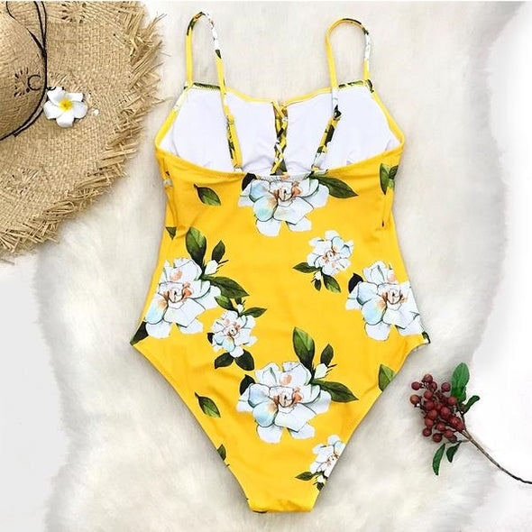 Bohemian Swimsuit - Yellow Floral Adjustable Monokini Swimwear