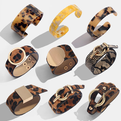 Bohemian Fashion - Leopard Vintage Leather Punk Bangle Bracelet