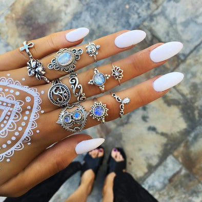 Bohemian Ring Sets - Vintage Boho Flower Crystal Knuckle Ethnic Rings