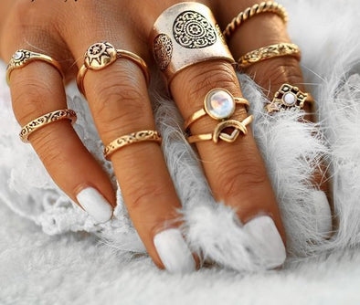 Bohemian Ring Sets - Steampunk Turkish Knuckle Ringe Boho Style