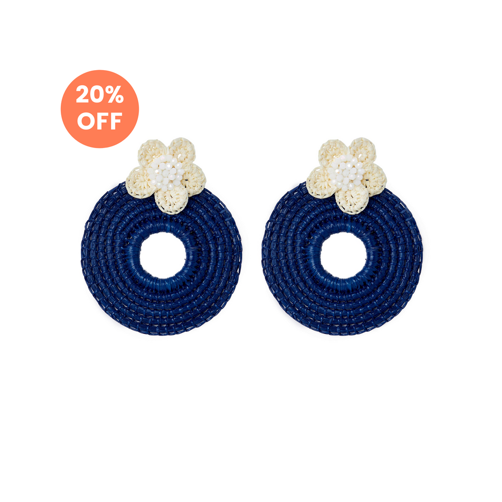 The Clementine Earrings in Navy