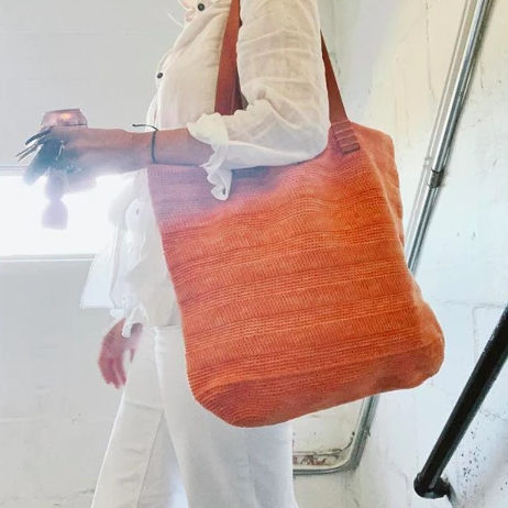 The Ainslie Tote in Sunkissed Orange lifestyle photo