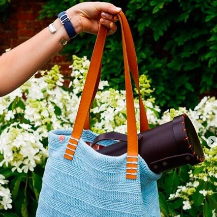 The Ainslie Tote in Sunkissed Blue lifestyle photo
