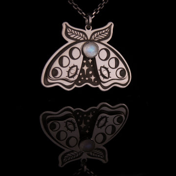 Moonstone Moth Necklace