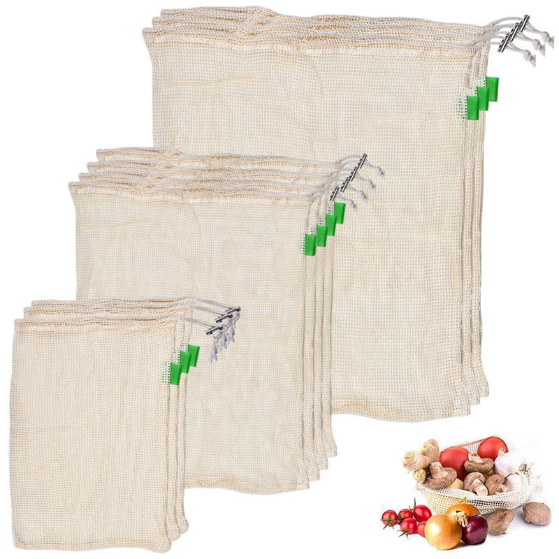 10pcs Bags for Fruits and Vegetables in Degradable Organic Cotton