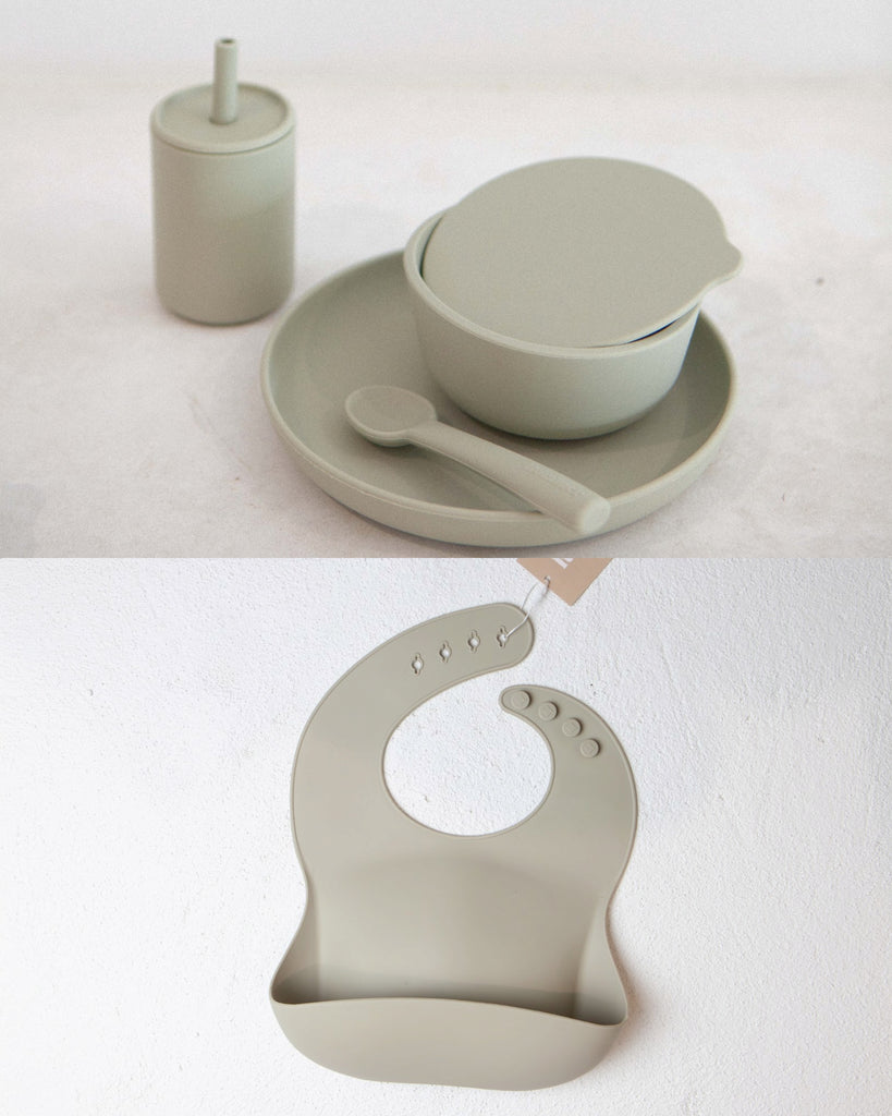 Oyster Dinner Set and Bib Bundle