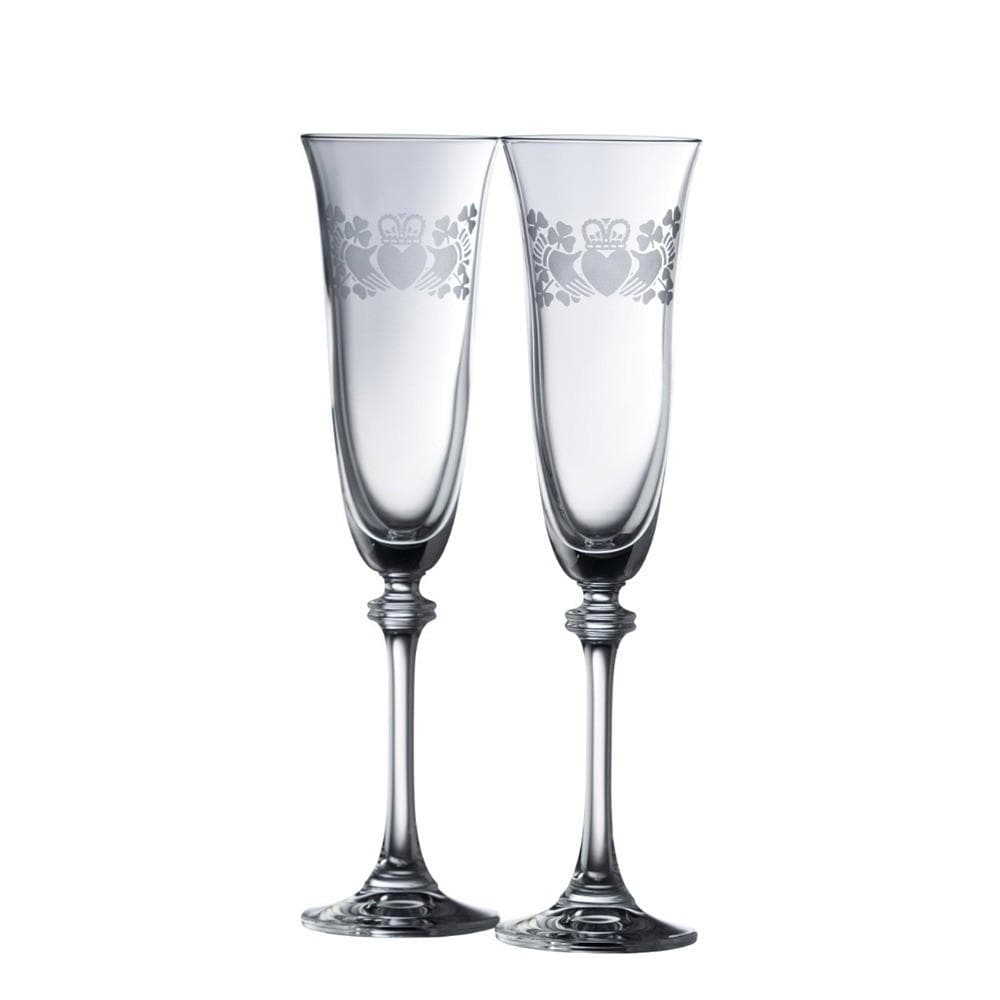 Claddagh Ring Shamrock Liberty Flute Glass Pair