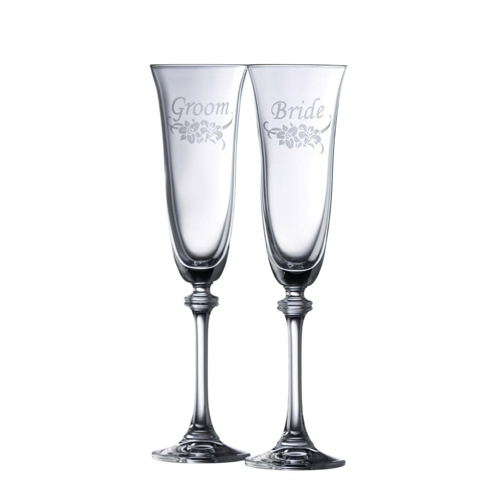 Floral Bride & Groom Liberty Flute Pair - Galway Irish Crystal