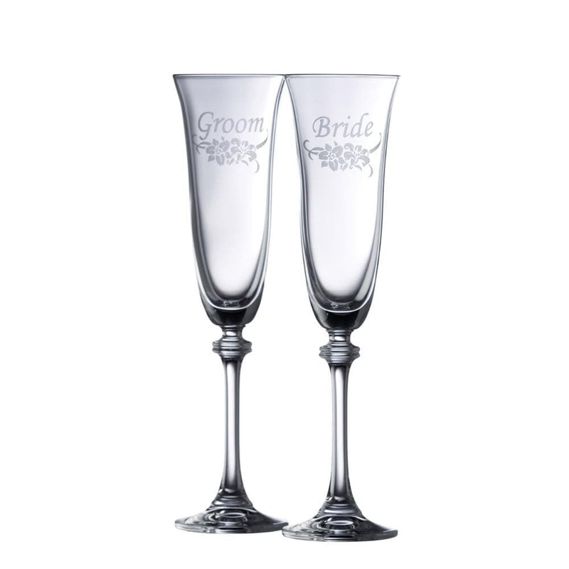 Floral Bride & Groom Liberty Flute (Pair) (30011/2) - Galway Irish Crystal