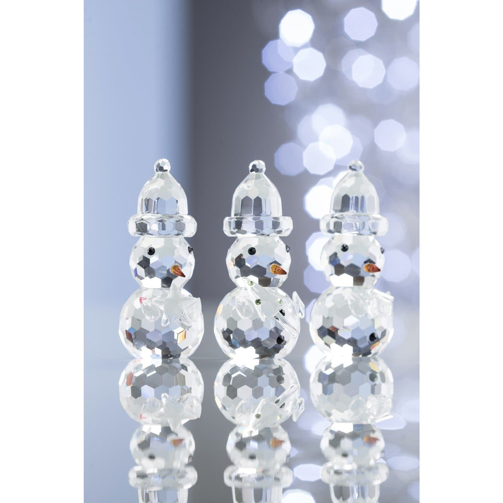 *Out of Stock* Gem Snowman Ornaments (3 pack) GGM11 - Galway Irish Crystal
