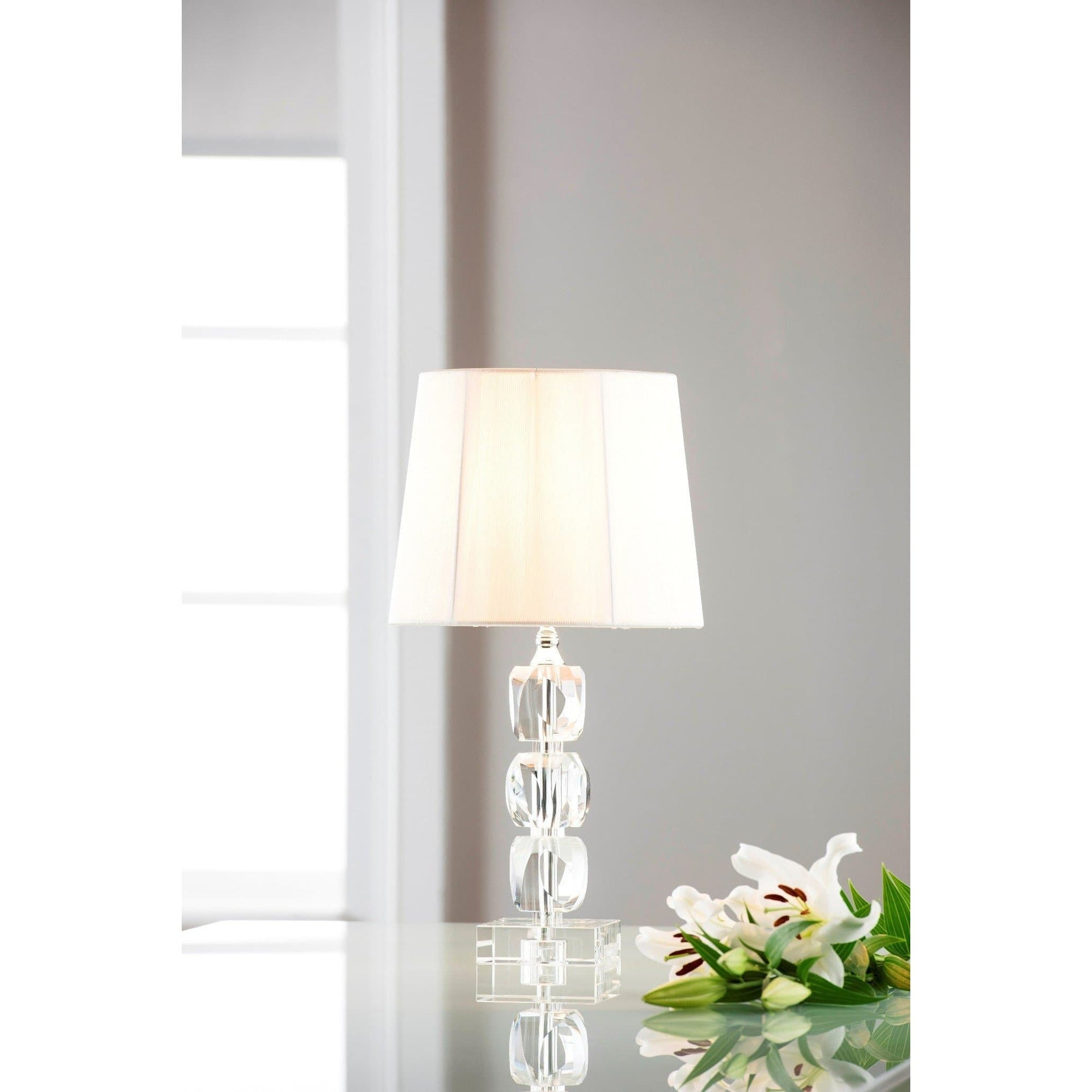 Engraved Facet Small Lamp & Shade (IRL/UK Fittings) (FC61E)