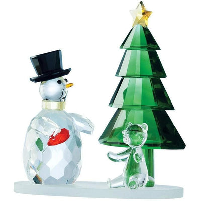Magical Snowman and Green Tree (GMG05) - Galway Irish Crystal
