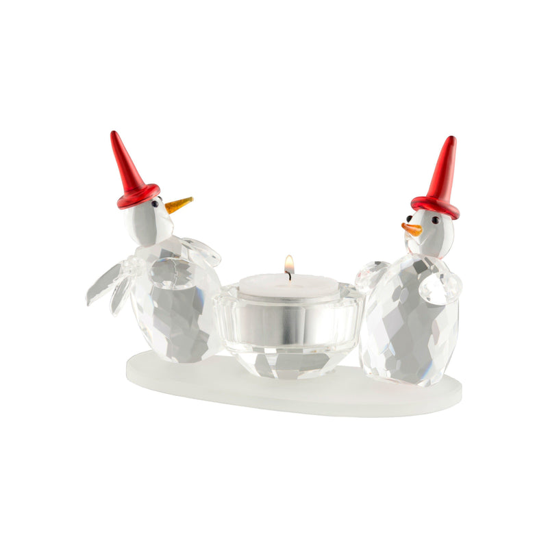 Two Snowman Votive GMG13 - Galway Irish Crystal