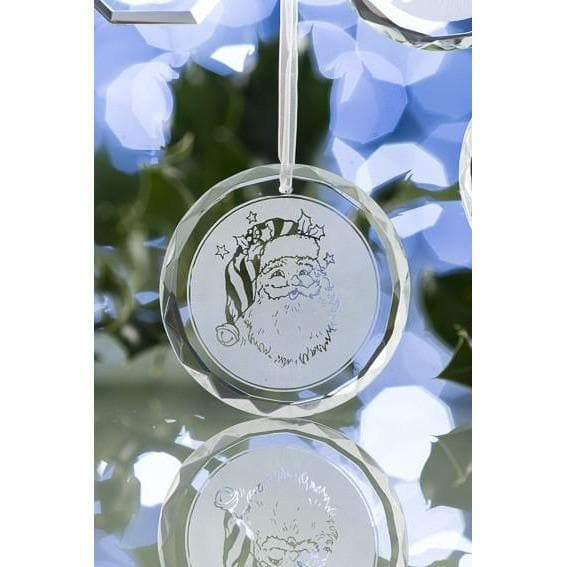 Santa Round Hanging Ornament GRH02 - Galway Irish Crystal