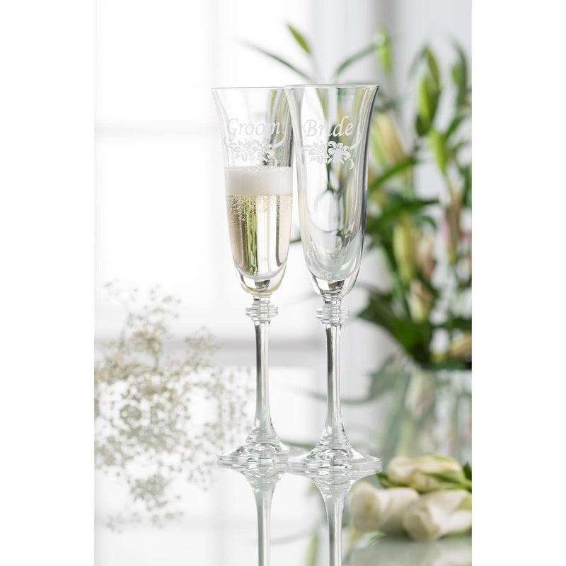 Floral Bride & Groom Liberty Flute Glass Pair