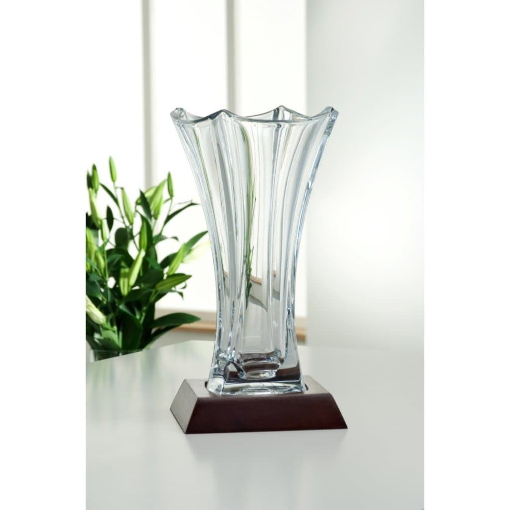 "Dune 14"" Waisted Vase Engraved (G45014E) - Galway Irish Crystal"