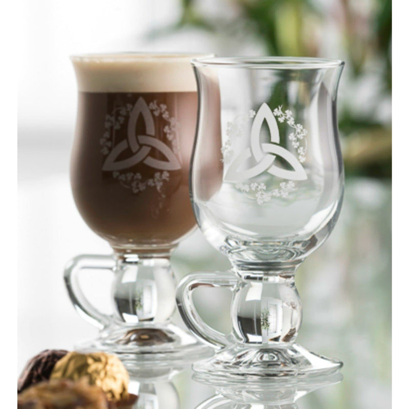 Trinity Knot Shamrock Latte Pair - Galway Irish Crystal