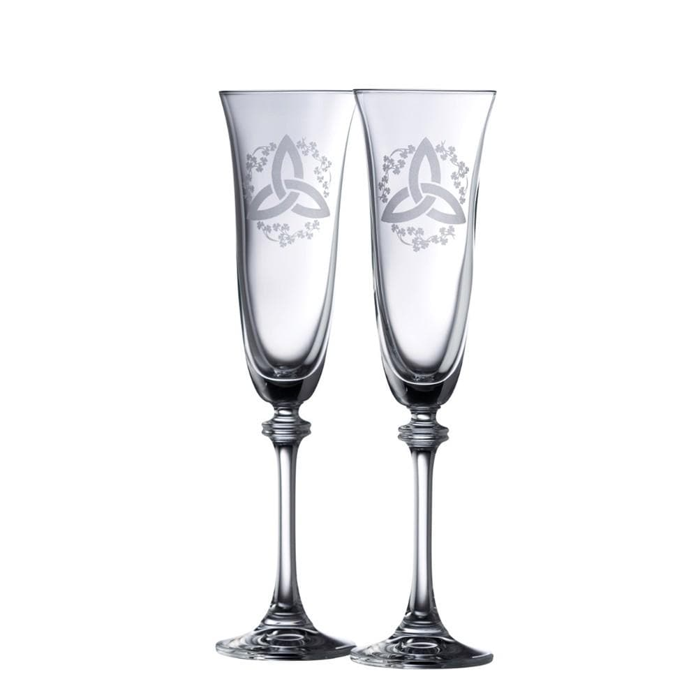 Trinity Knot Shamrock Liberty Flute Pair - Galway Irish Crystal