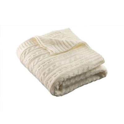 Aran Knit Throw -  Soft White