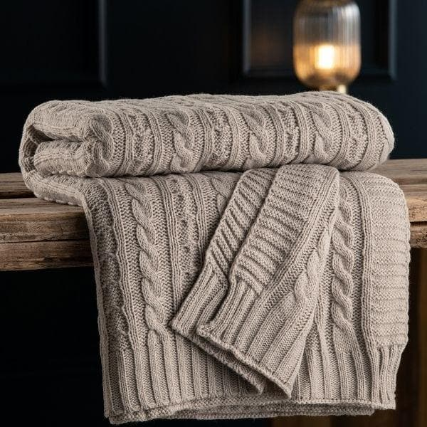Aran Knit Throw - Cool Grey