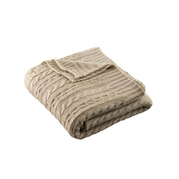 Aran Knit Throw - Warm Grey